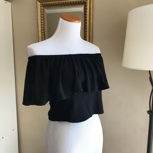 •nwt• Sale! Black Ruffle Off the Shoulder Crop Top